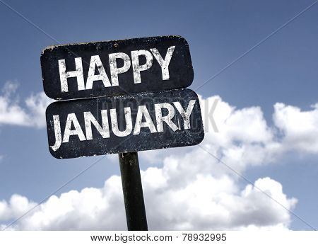 Happy January sign with clouds and sky background