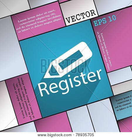 Register Icon Symbol Flat Modern Web Design With Long Shadow And Space For Your Text. Vector