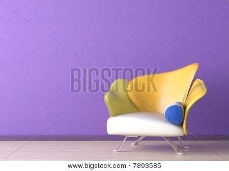 Interior Design With Armchair On Violet Wall