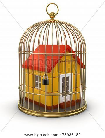Gold Cage with House (clipping path included)