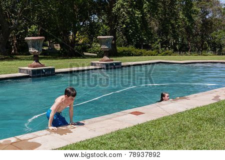 Boy Girls Playing Swim Pool