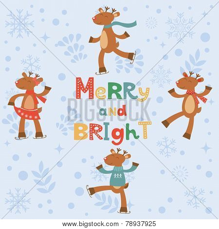 Merry and bright card with cute reindeers