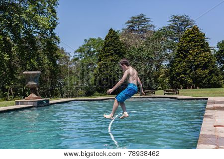 Boy Run Jump Pool