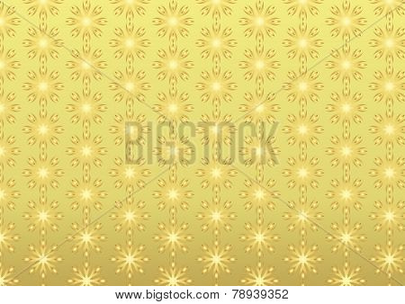 Gold Retro Roots Or Flower Pattern On Pastel Background