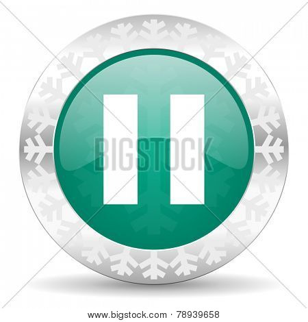 pause green icon, christmas button