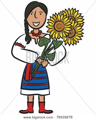 Ukrainian Girl With Sunflowers
