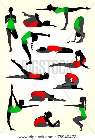 Yoga Silhouettes Background In White