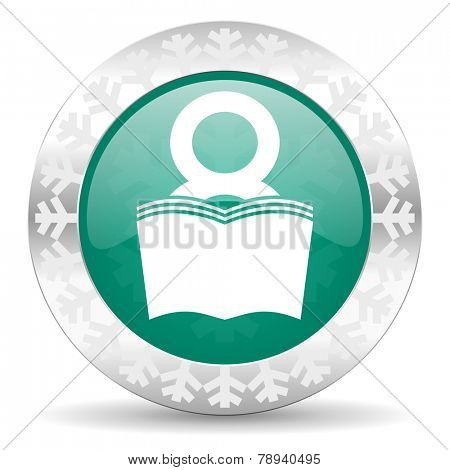 book green icon, christmas button, reading room sign, bookshop symbol