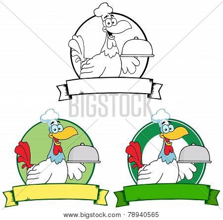 Rooster Chef Serving A Platter Over A Circle Banner. Collection Set