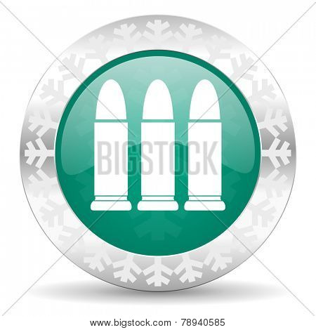 ammunition green icon, christmas button, weapoon sign