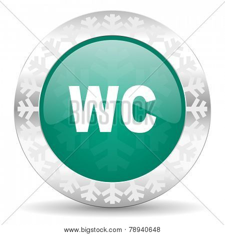 toilet green icon, christmas button, wc sign
