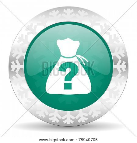 riddle green icon, christmas button