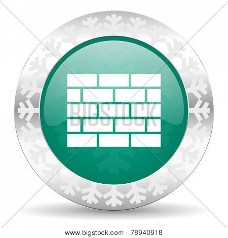 firewall green icon, christmas button, brick wall sign