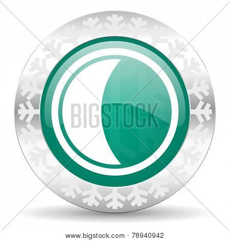 moon green icon, christmas button, sleep sign