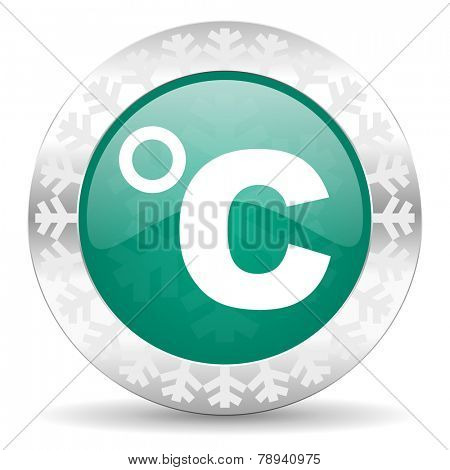 celsius green icon, christmas button, temperature unit sign