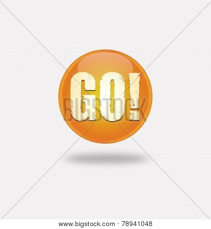 Orange Button With The Word Go