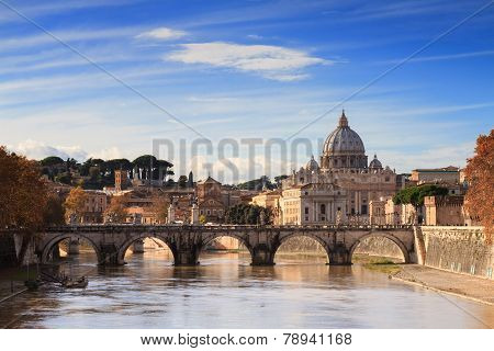 The Dome Of Saint Peter As Seen From The River Tiber