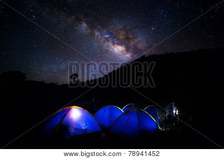 Camping at night with Milky Way