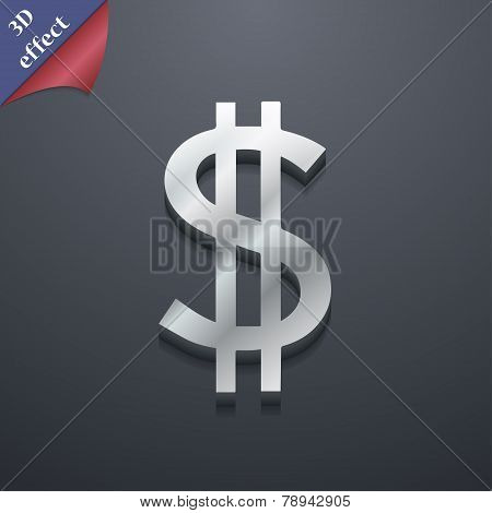 Dollars Icon Symbol. 3D Style. Trendy, Modern Design With Space For Your Text Vector