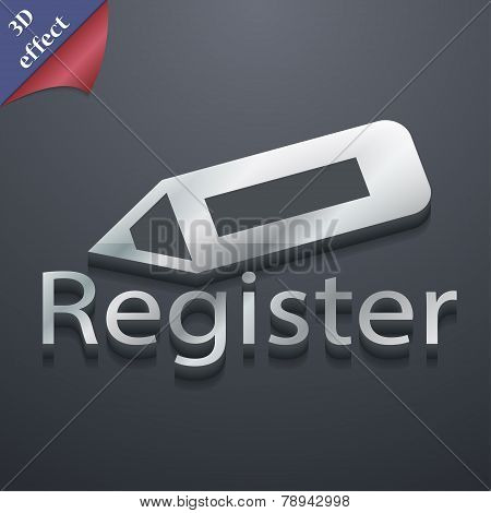 Register Icon Symbol. 3D Style. Trendy, Modern Design With Space For Your Text Vector