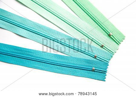 Zipper end pastel green and blue set isolated on white background