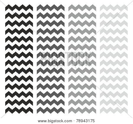 Tile chevron vector pattern set with grey and black zig zag on white background