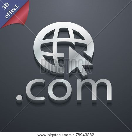 Domain Com Icon Symbol. 3D Style. Trendy, Modern Design With Space For Your Text Vector