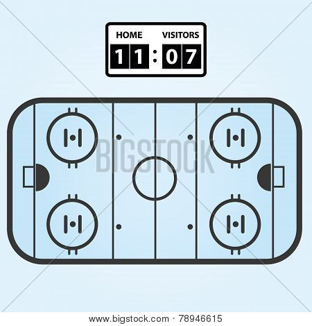 Ice Hockey Field Plan With Score Board Eps10