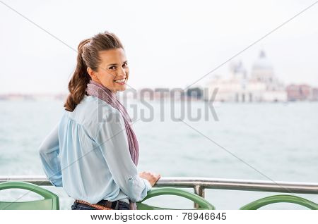 Smiling Young Woman Travel By Venice Water Bus