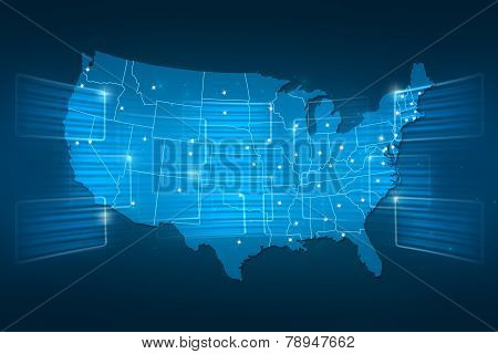 Usa Map World Map News Communication Blue