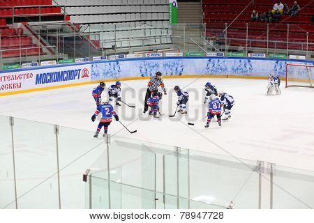 MOSCOW, RUSSIA - APR 26, 2014: Teams of children playing hockey at the Ice Palace of Sports Sokolniki