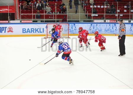 MOSCOW, RUSSIA - APR 26, 2014: Competitions between childrens teams in hockey at the Ice Palace of Sports Sokolniki
