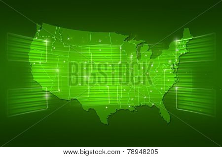 Usa Map World Map News Communication Green