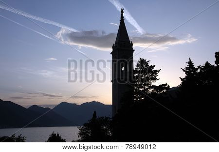 DOBROTA, MONTENEGRO - JUNE 09, 2012: The Catholic Church Saint Eustache in Dobrota, Montenegro, on June 09, 2012