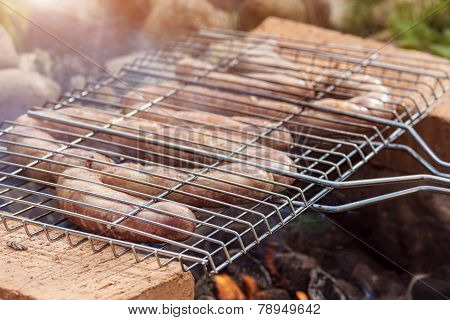 Appetizing Sausages Roasting On Grill.horizontal Image