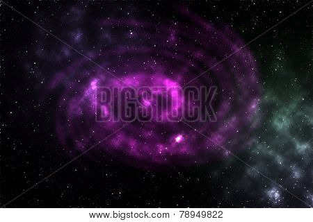 The stellar sky with a spiral fog