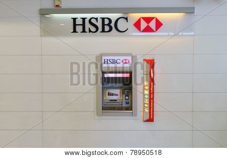 PARIS - SEPTEMBER 10: HSBC ATM on September 10, 2014 in Paris, France. HSBC Holdings plc is a British multinational banking and financial services company headquartered in London, United Kingdom