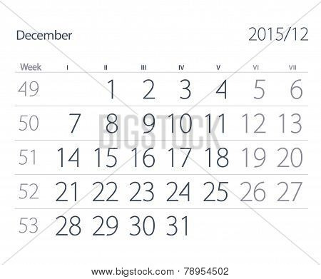 2015 Year Calendar. December