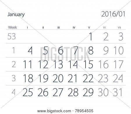2016 Year Calendar. January