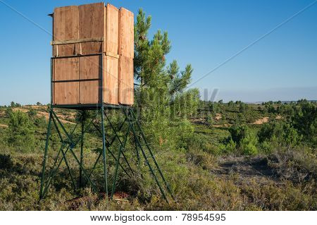 Closeup of hidden hut for big game hunting, wooden made