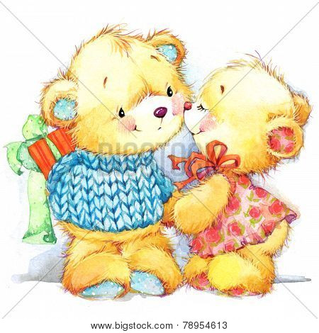 Background For Holiday Greetings Delicate Watercolor Palette Cute Teddy Bears Poster ID 78954613