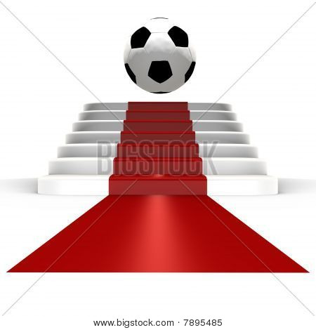 Soccer ball on top of red carpet - 3d image