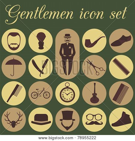 Set Of Vintage Barber, Hairstyle And Gentlemen Icon. Vector Illustration