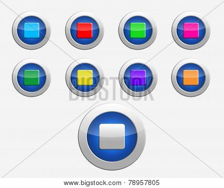 Nine Colors Signs Stop On The Buttons