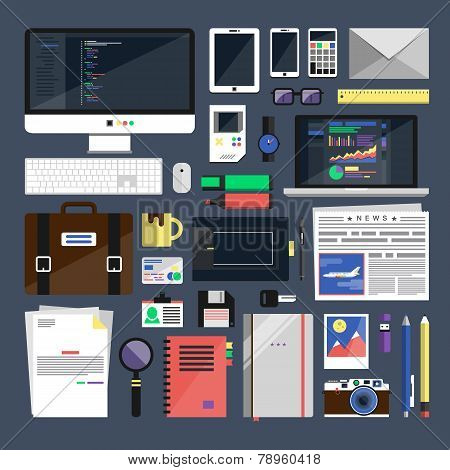 Flat Icon Vector Collection Concept