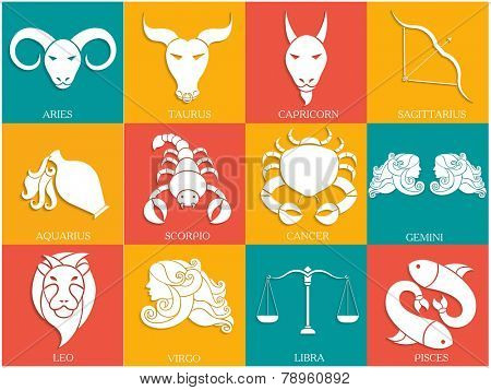 Set of Twelve Horoscope or Zodiac sign.