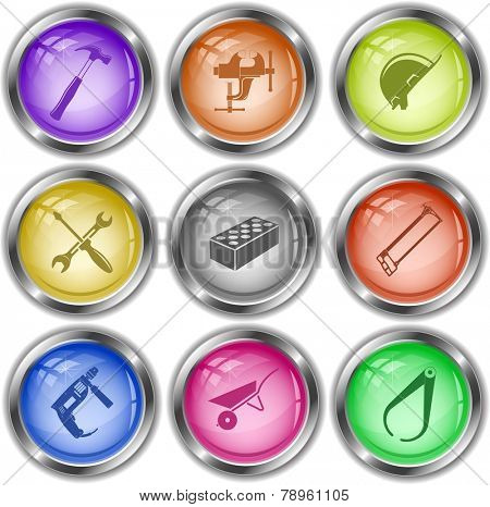 Industrial tools set. Vector internet buttons.