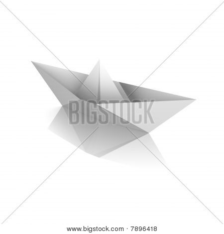 An isolated paper boat - a 3d image