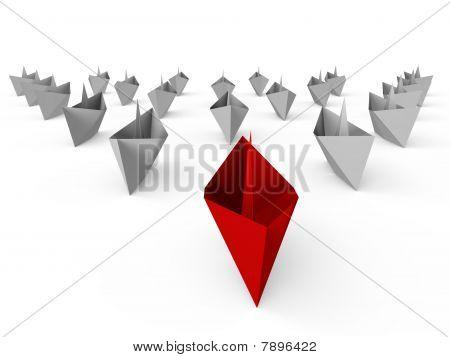 Fleet of paper boats - a 3d image