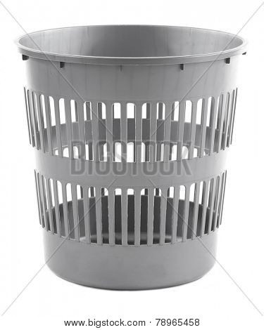 Empty garbage bin, isolated on white